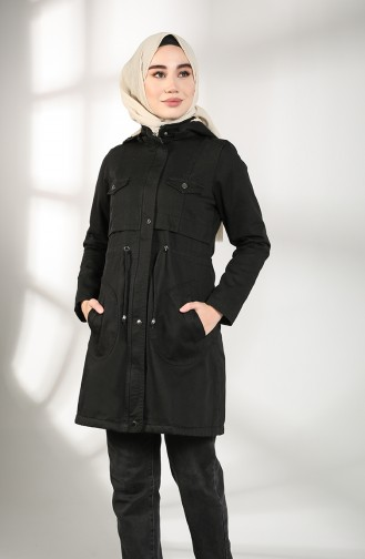 Gabardine Fabric waist Gathered Coat 7105-06 Black 7105-06