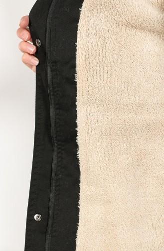 معطف طويل أسود 7105-06