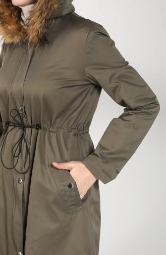 Fur Lined Coat 6837-04 Khaki Green 6837-04