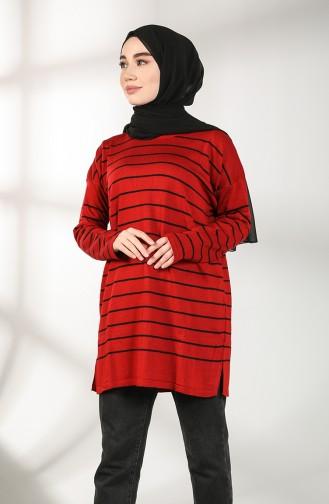 Triko Çizgili Kazak 3015-01 Kırmızı