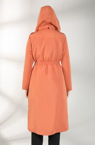 Shirred waistcoat Hooded Coat 2135-03 Tobacco 2135-03