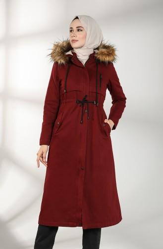 Fur Coat 7107-04 Claret Red 7107-04