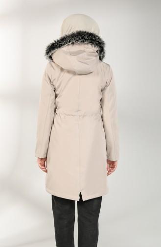 Hooded Short Coat 7007-01 Beige 7007-01