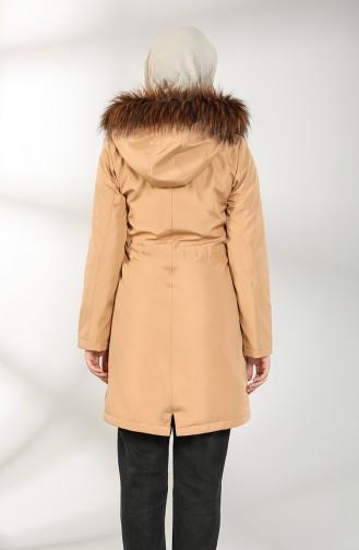 Hooded Short Coat 7007-03 Milk Coffee 7007-03