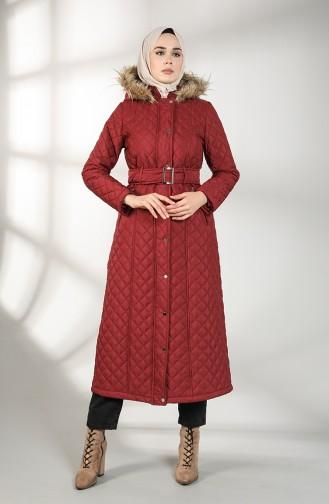 معطف طويل أحمر كلاريت 5042-01