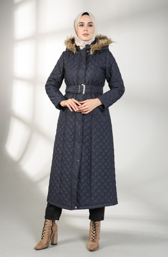Furry quilted Long Coat 5042-04 Navy Blue 5042-04