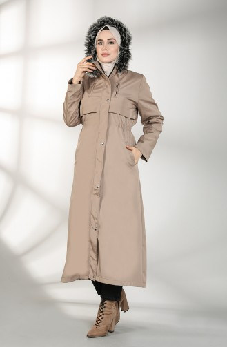 Hooded Long Coat 9059-02 Mink 9059-02
