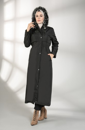 Hooded Long Coat 9059-03 Black 9059-03