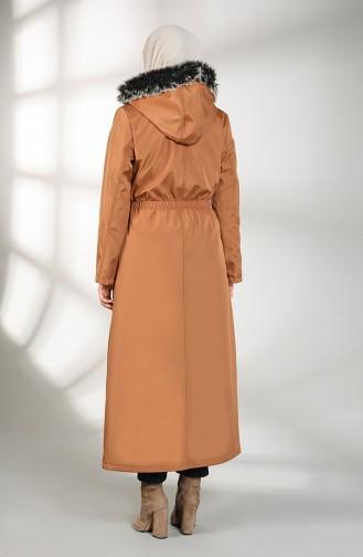 Hooded Long Coat 9059-04 Tobacco 9059-04