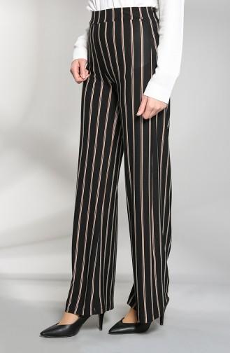 Striped wide Leg Pants 48325-01 Black 48325-01