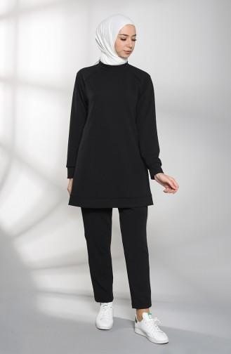 Raglan Sleeve Tunic Trousers Double Suit 0935-04 Black 0935-04