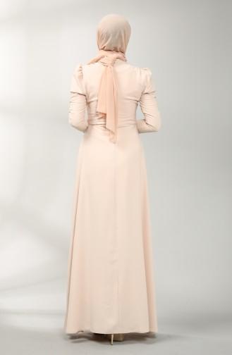 Beige Hijab-Abendkleider 5412-02