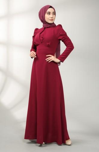 فساتين سهرة بتصميم اسلامي ارجواني داكن 5412-05