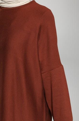 Yarasa Kol Elbise 8141-01 Kiremit