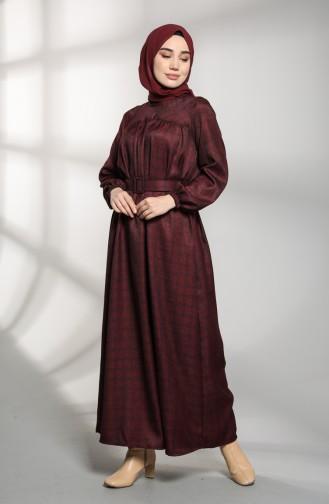 Belted Gathered Dress 21k8179-02 Damson 21K8179-02
