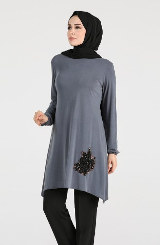 Modal Fabric Sequin Detailed Tunic 1320-01 Smoked 1320-01