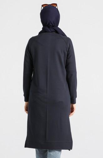Zippered Raglan Sleeve Tunic 3150-19 Dark Navy Blue 3150-19