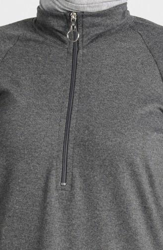 Zippered Raglan Sleeve Tunic 3150-21 Smoked 3150-21