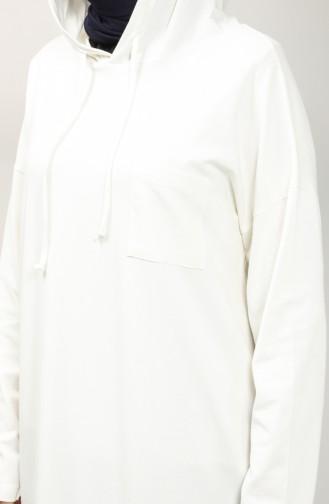 Hooded Long Tunic 201517-01 Ecru 201517-01