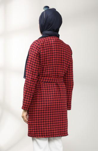معطف طويل أحمر كلاريت 21K8117N-01