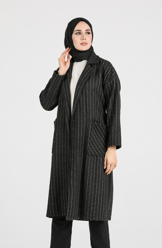 معطف طويل أسود 21K8119H-01