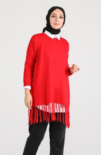 Triko Saçaklı Kazak 9K6920400-03 Kırmızı