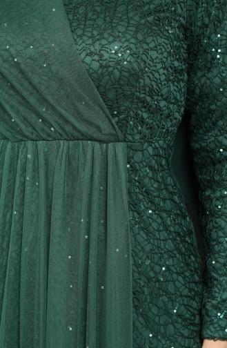 Payetli Abiye Elbise 5402-03 Zümrüt Yeşili