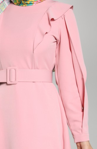 Volanlı Elbise 8001-02 Pudra