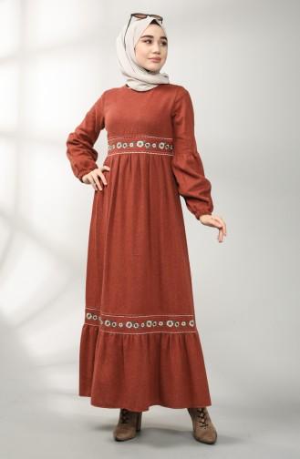 فستان قرميدي 21K8159-02