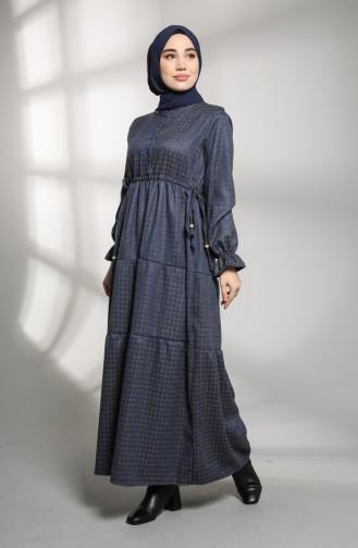 Embroidered Sleeve Winter Dress 21k8188-01 Gray 21K8188-01