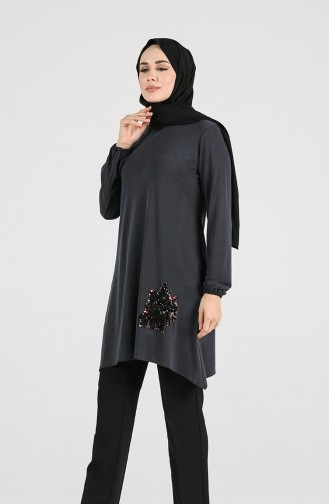 Modal Fabric Sequin Detailed Tunic 1320-04 Anthracite 1320-04