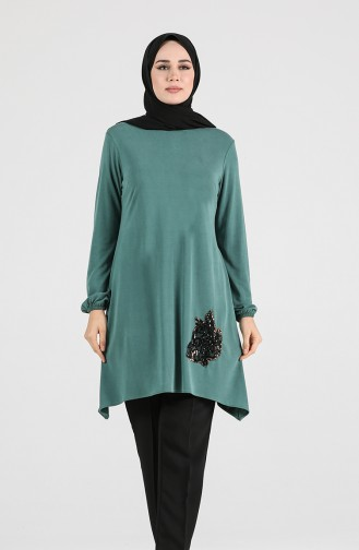 Modal Fabric Sequin Detailed Tunic 1320-05 Green 1320-05