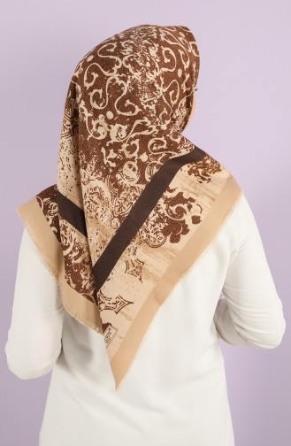 Patterned winter Scarf 70173-06 Brown Camel 70173-06