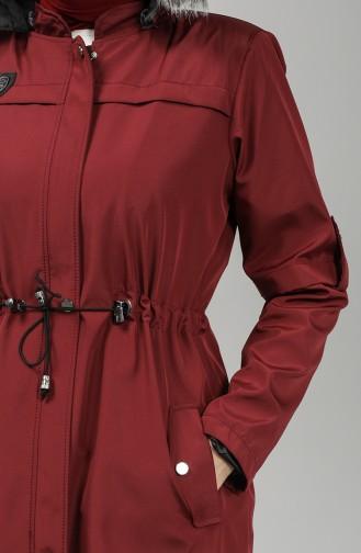 Bondite Fabric Hooded Coat 8101-07 Burgundy 8101-07