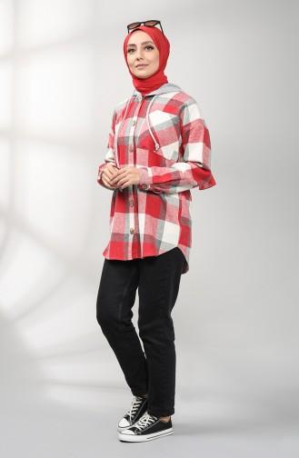Oduncu Gömlek Tunik 21K8166-08 Kırmızı