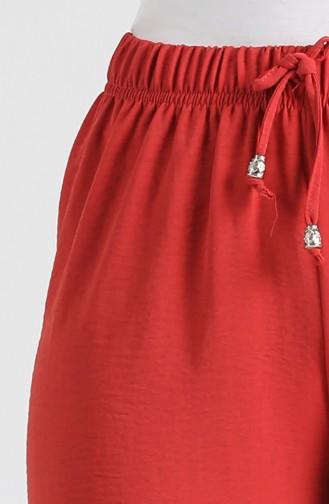 Aerobin Fabric wide Leg Trousers 1087-02 Burgundy 1087-02