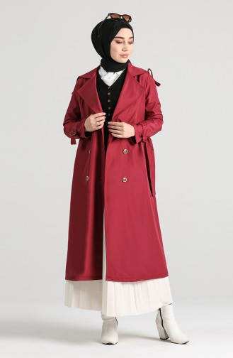 Claret red Trench Coats Models 5069-09