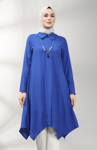 Asymmetric Tunic with Necklace 5006-02 Saxe Blue 5006-02