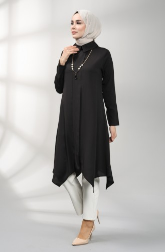 Asymmetric Tunic with Necklace 5006-04 Black 5006-04