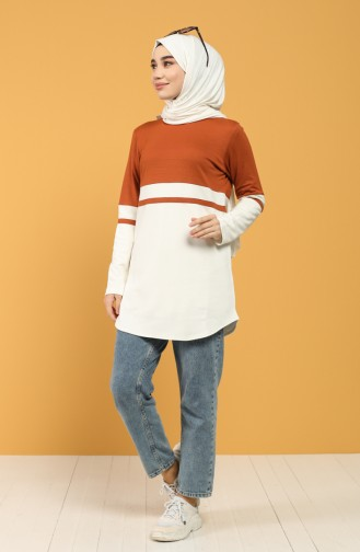 Striped Sports Tunic 8279-02 Cinnamon 8279-02
