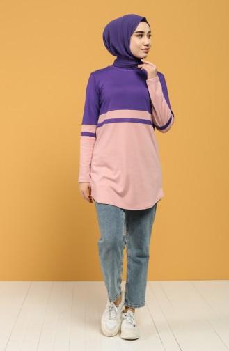 Striped Sports Tunic 8279-03 Purple 8279-03