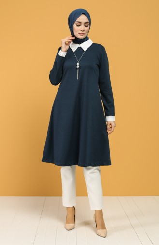 Pointed Collar Necklace Tunic 8286-02 Petrol 8286-02