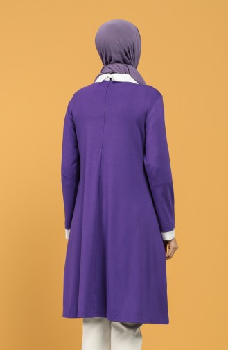 Pointed Collar Necklace Tunic 8286-04 Purple 8286-04