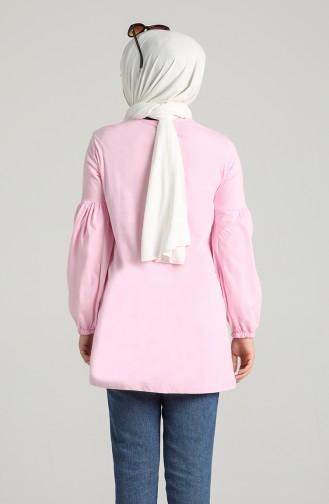 Balloon Sleeve Cotton Tunic 1193-10 Pink 1193-10