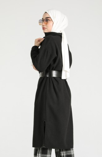 Buttoned Long Tunic with Pockets 6071-03 Black 6071-03