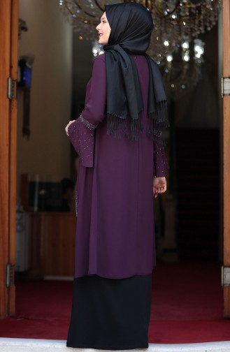 Plus Size Stone Printed Looking Evening Dress 3278-02 Purple Black 3278-02