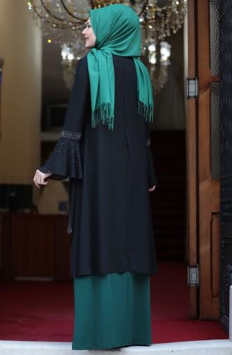 Plus Size Stone Printed Look Evening Dress 3278-05 Black Emerald Green 3278-05