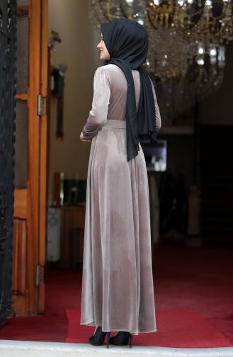 فستان بني مائل للرمادي 3245-02