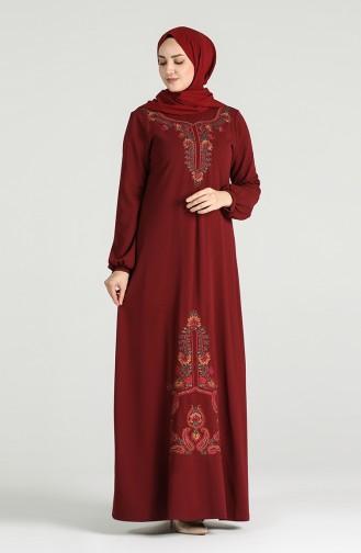 Embroidered Dress 20k3015501-01 Burgundy 20K3015501-01