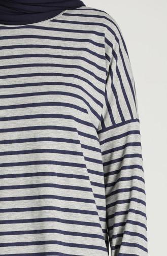 Striped Tunic 1408-01 Gray 1408-01
